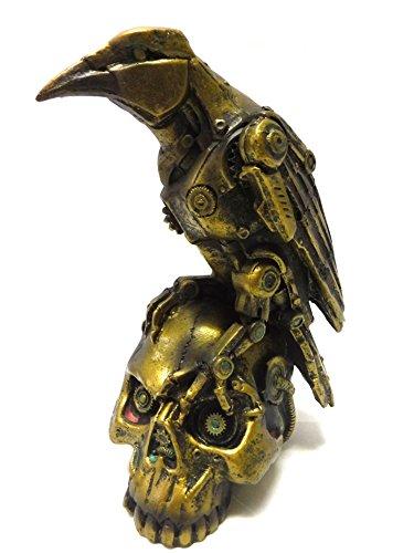 Steampunk Dark Crow on Skull Statue
