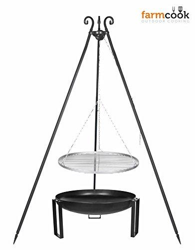 Dreibein Grill VIKING Höhe 180cm + Grillrost aus Edelstahl Durchmesser 50cm + Feuerschale Pan36 Durchmesser 60cm jetzt kaufen