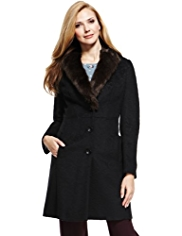 M&S Collection Jacquard Faux Fur Trim Coat with Wool
