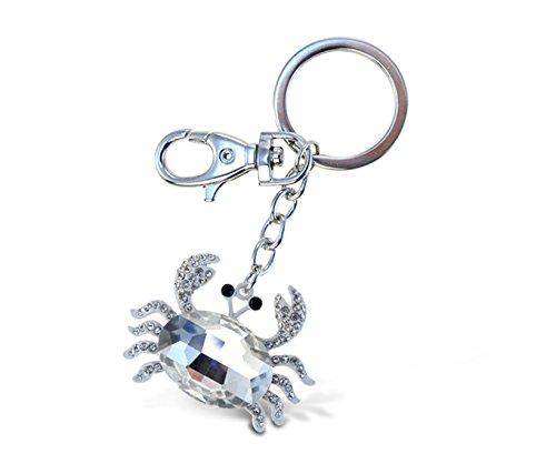Puzzled White Crab Sparkling Charm Elegant Key Chain