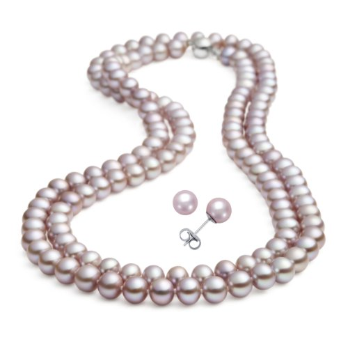 Rolicia(Ellena Pearl) 8-9mm 65Inches 165cm Freshwater Cultured Purple lavender Pearl Necklace for Women & Matching Stud Earring Set as a FREE Gift
