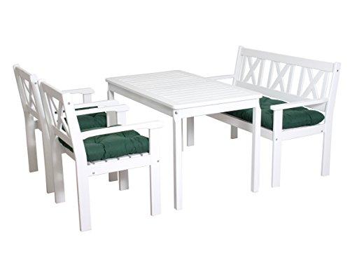 Ambientehome-90552-Garten-Sitzgruppe-Essgruppe-Massivholz-EVJE-weiss-inkl-grne-Kissen-4-teiliges-Set