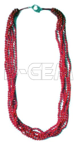 5 strings red Coral Necklace
