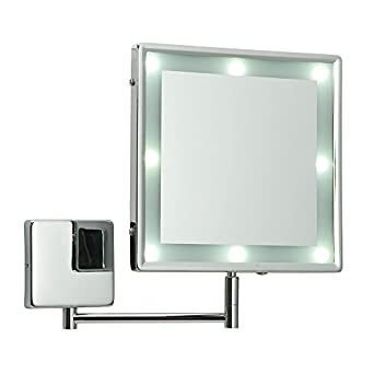 Adjustable Square Chrome IP44 Rated Battery Operated Bathroom LED Illuminated Make Up Cosmetic ...
