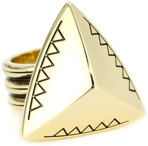 House of Harlow 1960 Gold-Plated Engraved Faceted Pyramid Cocktail Ring, Size 7