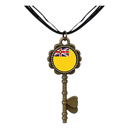 Giftjewelryshop Bronze Retro Style Niue Flag Key To Her Heart Pendant Charm Necklaces
