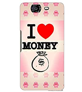 MICROMAX A350 CANVAS KNIGHT I LOVE MONEY Back Cover by PRINTSWAG