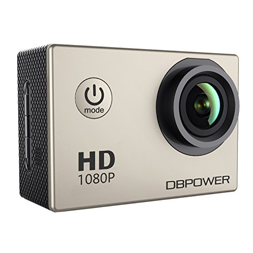 DBPOWER® Action Camera impermeabile 1080P HD 12MP KIT 2 Batterie ed accessoristica varia (Argento)