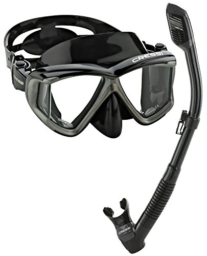 Cressi Panoramic Wide View Mask Dry Snorkel Set, Black Silver