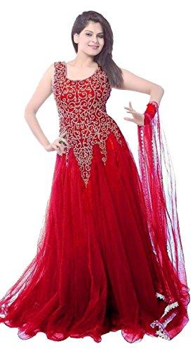 Janasya-Womens-Maroon-Net-Semi-Stitched-Dress-JNE-DR-0900-MAROON