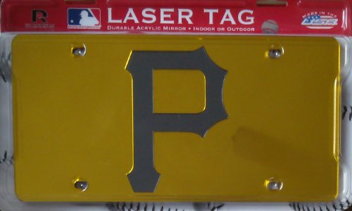 "Pittsburgh Pirates YELLOW ""P"" Deluxe Laser Cut Mirrored License Plate Tag Baseball"