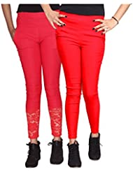 Xarans Stylish Looking Cotton Lycra Net, Button,Jegging Set Of 2 Pcs - B01KJEGQQI