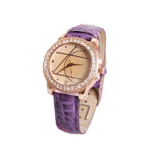 WLM Purple Geometry Pattern Design Leathroid Made Band Quartz Wrist Watch Clock
