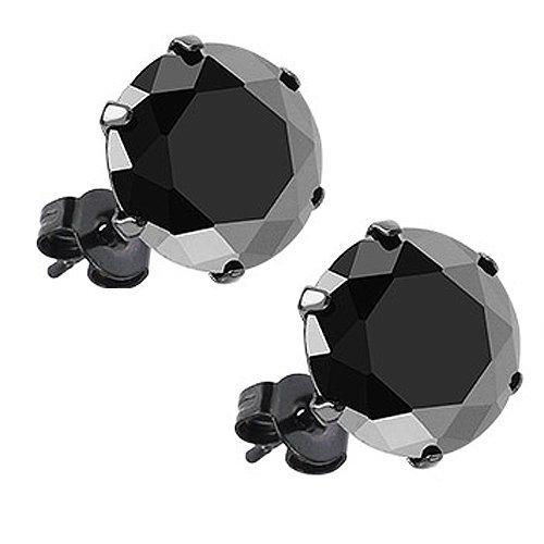 Pair Of Black Ip Stainless Steel Round Cut 3Mm, 4Mm, 6Mm, 8Mm, 10Mm Black Cz Stud Earrings Mens And Womens (10Mm (4 Carat Each))