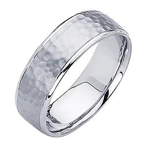 14K White Gold 7mm Comfort Fit Hammered Finish Designer Wedding B