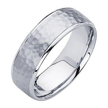 Buy 14K White Gold 7mm Comfort Fit Hammered Finish Designer Wedding Band Ring