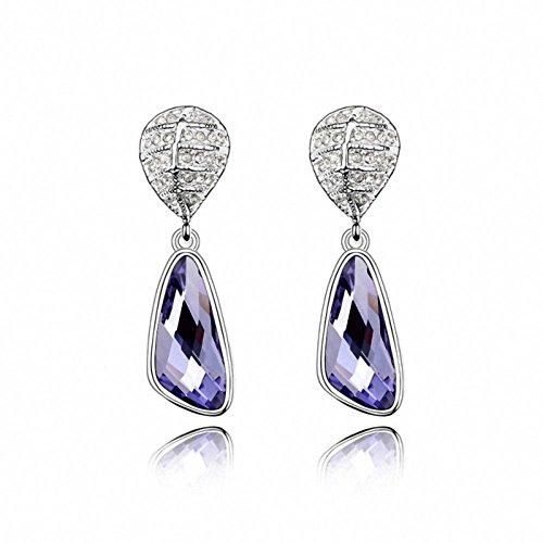 TAOTAOHAS elementi di swarovski cristallo ciondoli orecchino di goccia [ poesia del cloud, tanzanite ], 18KGP Rhinestone