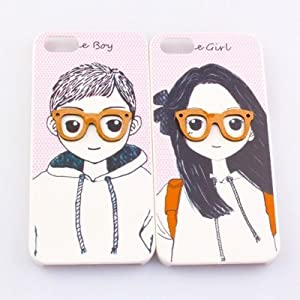 2pcs Cute 3D Lover Couple Hard Case Cover Shell Compatible with Apple iPhone 5 ideal for Valentine's Day Gifts