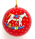 Hand Painted Paper Mache Christmas Ornament- Rocking Horse