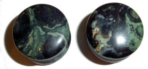 Green Eye Jasper Stone Plugs 7/16