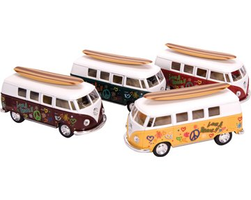 Diecast '62 VW Bus & Surfboard (Sold Individually - Colors Vary) - 1