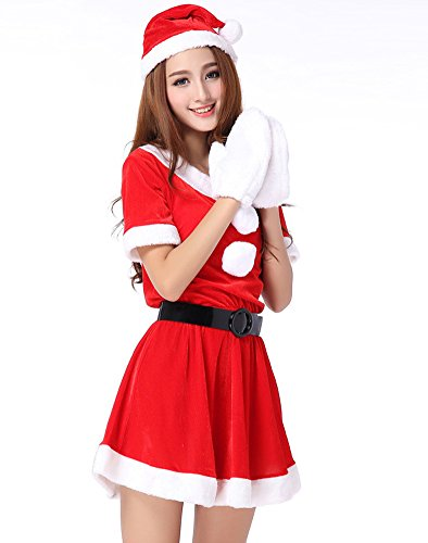 Fllt Ladies Sexy Miss Mrs Santa Christmas Velvet Fancy Dress Costume Outfit