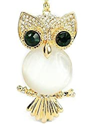 Libaraba Lovely Owl Pendant With Green Eyes Necklace