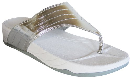 29a6224a201a Ladies Bronze White Shiny DUNLOP FITNESS TONING Flat Fit Flip Flops Sandals   White UK 6