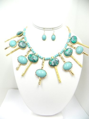 Gold Plated Semi Precious Turquoise Set(comes with Gift Box)