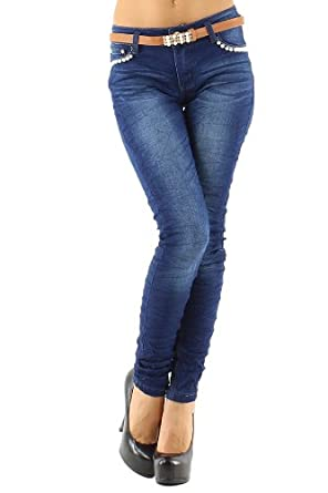 4816d88e4ac Push Up Creased Skinny Jeans with Rhinestones Pearls inc. Push Up Creased  Skinny. Amazon com  DHmart ...