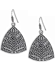 Bindhani Stylish Black Oxidized Silver Plated Metal Earrings For Girls