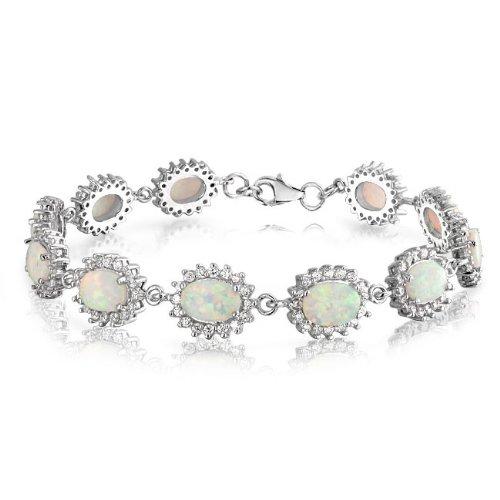 Bling Jewelry Sterling Silver CZ Crown White Opal Tennis Bracelet 7.5in Gemstone