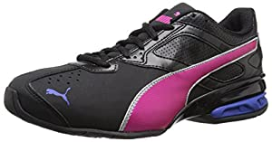 PUMA Women's Tazon 6 Training Sneaker, Black/Pink Glow/Dazzling Silver, 8 B US