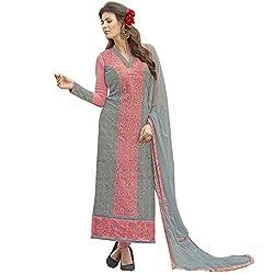 Vasu Saree Georgette Straight Cut Salwar Suit In Grey & Pink-1018