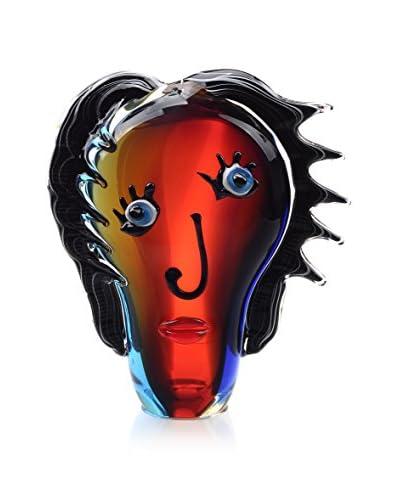 La Meridian Art Glass Face Sculpture, Red/Multi
