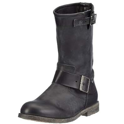 Buffalo London 13980 WASHED LEATHER, Damen Biker Boots - Schwarz (BLACK 01), 36 EU (3 Damen UK)