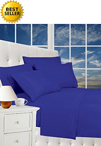 #1 Rated Best Seller Luxurious Bed Sheets Set on Amazon! Celine Linen® 1800 Thread Count Egyptian Quality Wrinkle Free 4-Piece Sheet Set with Deep Pockets 100% HypoAllergenic, Full Royal Blue (Royal Blue Bed Sheets compare prices)