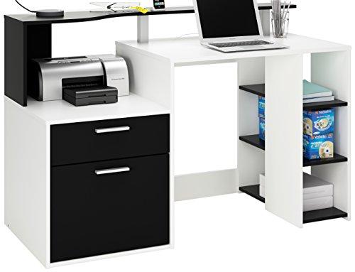 Demeyere-305889-Schreibtisch-ORACLE-mit-1-Trig-und-1-Schublade-1398-x-91-x-551-cm-perle-wei-und-schwarz
