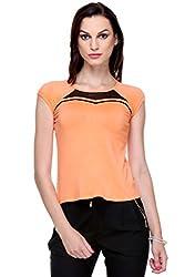 MySin Orange Viscose Lycra Solid Top