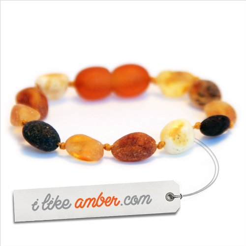 Amber Teething Anklet Bracelet - baby child size from 14 to 18 cm - 100% Genuine Raw Unpolished Baltic Amber - Top Quality on Amazon + Free Organza Gift Bag