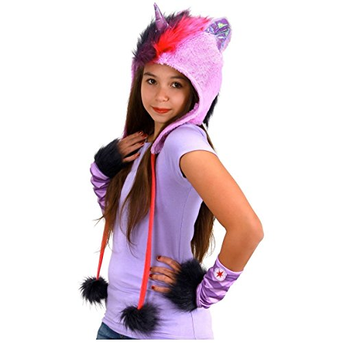 GSG My Little Pony Costume Hoodie Hat Glovettes Wings Adult/Teen/Kids Halloween (Girls Twilight Witch Costume)