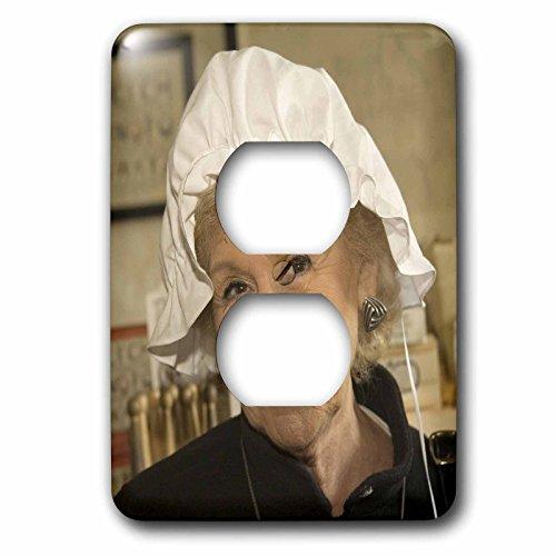 Danita Delimont - Virginia - Woman in hair bonnet, Williamsburg, Virginia - US47 JME0103 - John and Lisa Merrill - Light Switch Covers - 2 plug outlet cover (Colonial Costume Williamsburg)