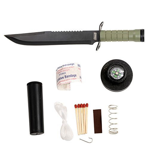 Coleman Fixed Blade Survival Knife, Survival Kit Included in the Handle, Black Nylon Sheath with Grindstone, 16-Inch Overall - CM2013