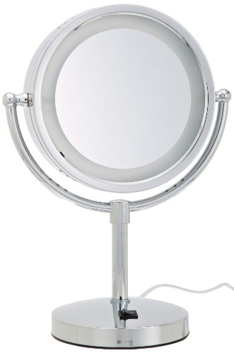 Jerdon HL745CO 8.5-Inch Tabletop Two-Sided Swivel Halo Lighted Vanity Mirror with 5x Magnification and Built-In Electrical Outlet, 15-Inch Height, Chrome Finish