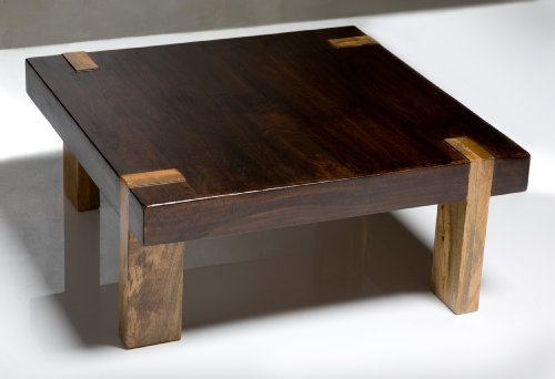 Solid Wood Chunky Contemporary Rustic Coffee Table