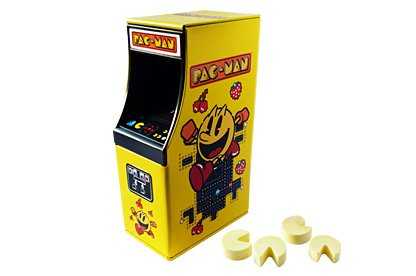 Pac-Man Arcade Sweets Tin filled with Pac-Man shaped sweets. Reusable tin. Lovely little gift.