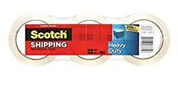 Scotch Heavy Duty Shipping Packaging Tape, 1.88 Inches x 54.6 Yards, 3 Rolls (3850-3)