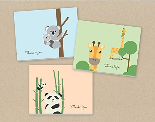 baby-thank-you-cards-24-fold-over-cards-and-envelopes-animal-thank-you-baby-shower-thank-you