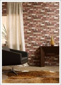 Graham and Brown Hemingway Brick Wallpaper - Red by New A-Brend