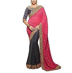 Sareeshoppers Viscose Saree With Blouse Piece(Bhar-010_Pink Black)